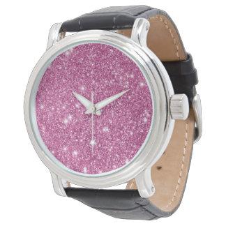Relógio Sparkles do brilho do rosa quente