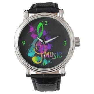 Relógio Splatter brilhante da pintura da música do Clef de