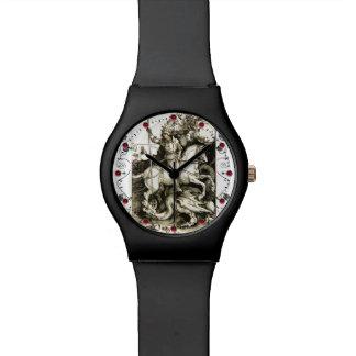 Relógio ST GEORGE E DRAGÃO, branco preto