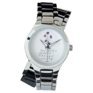 Relógio Sua tipografia inspirada do verso da beleza
