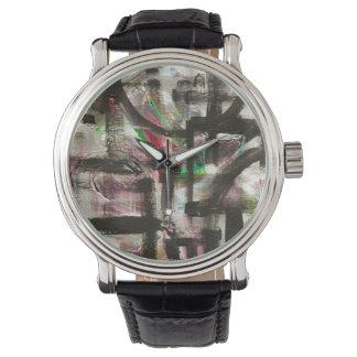 Relógio Sugestão da arte abstracta pintada Primavera-Mão