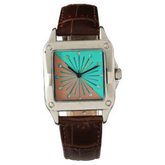 Relógio Sunburst, Aqua & castanho chocolate geométricos