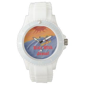 Relógio surfando do silicone de Jesus da igreja