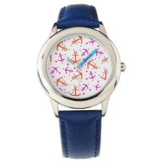 Relógio Teste padrão alaranjado cor-de-rosa náutico