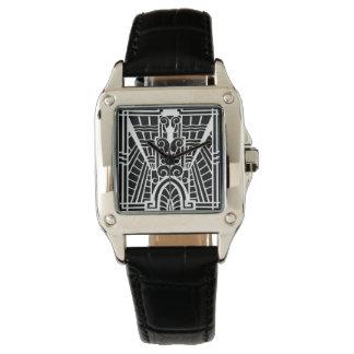 Relógio Teste padrão arquitectónico de Deco, preto e