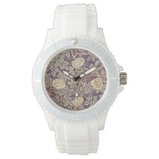 Relógio Teste padrão bonito dos rosas do vintage