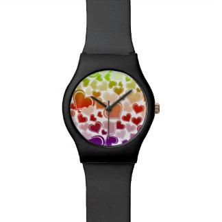 Relógio Teste padrão brilhante Funky dos corações