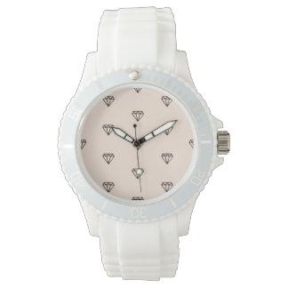 Relógio Teste padrão chique bonito do rosa do diamante