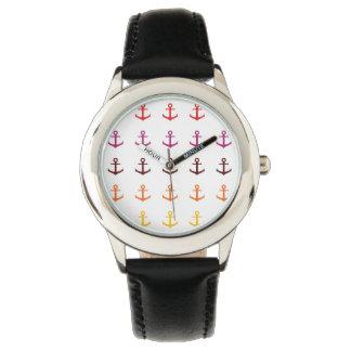 Relógio Teste padrão colorido da âncora