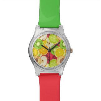 Relogio Teste padrão colorido da fruta do divertimento