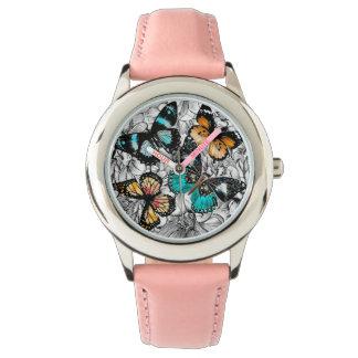 Relógio Teste padrão colorido do esboço das borboletas