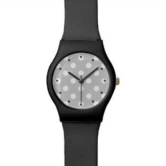 Relógio Teste padrão de bolinhas cinzento