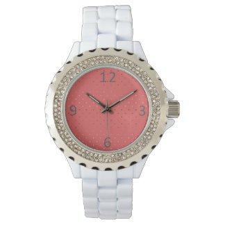 Relógio teste padrão de bolinhas coral do ouro cor-de-rosa
