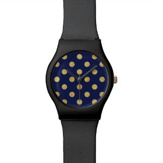 Relógio Teste padrão de bolinhas elegante da folha de ouro