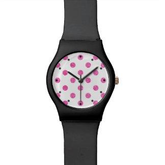 Relógio Teste padrão de bolinhas elegante do brilho do