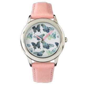 Relógio Teste padrão de borboletas azul verde artístico da