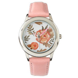 Relógio Teste padrão de flor tirado do batik do outono mão