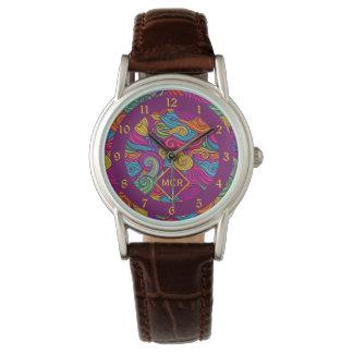 Relógio Teste padrão de onda colorido retro de Swirly do
