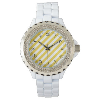 Relógio Teste padrão diagonal amarelo e branco das listras