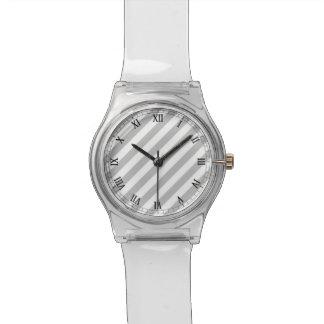 Relógio Teste padrão diagonal do cinza e o branco das