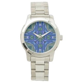 Relógio Teste padrão do caleidoscópio do Aqua