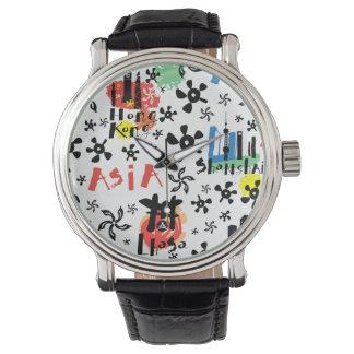Relógio Teste padrão dos símbolos de Ásia |