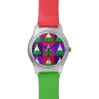 Relógio Teste padrão Funky da árvore de Natal