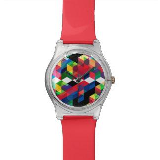 Relógio Teste padrão geométrico brilhante do diamante