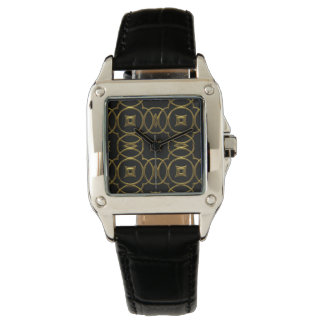 Relógio Teste padrão geométrico brilhante do ouro preto