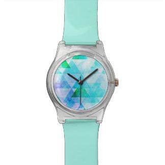 Relógio Teste padrão geométrico da aguarela azul