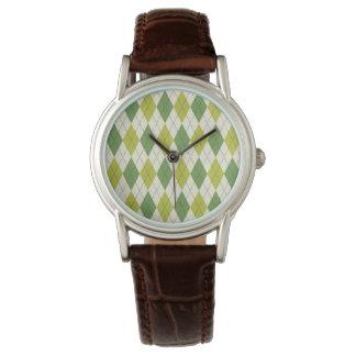 Relógio Teste padrão geométrico verde retro de Argyle