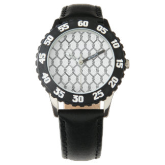 Relógio Teste padrão náutico preto e branco da corda