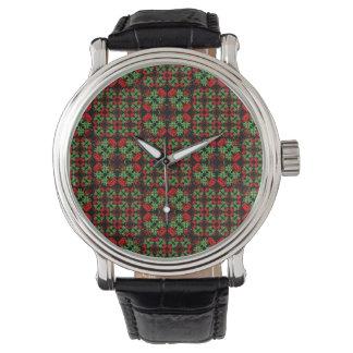 Relógio Teste padrão ornamentado asiático dos retalhos