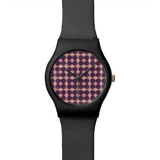 Relógio Teste padrão roxo do caleidoscópio