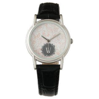 Relógio Teste padrão sem emenda do esboço cor-de-rosa com