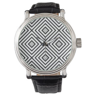 Relógio Teste padrão tribal das listras preto e branco