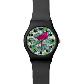Relógio Teste padrão tropical das folhas e flamingo