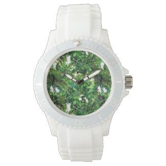 Relógio Teste padrão verde da queda da floresta da