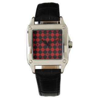 Relógio Teste padrão vermelho do verificador do diamante