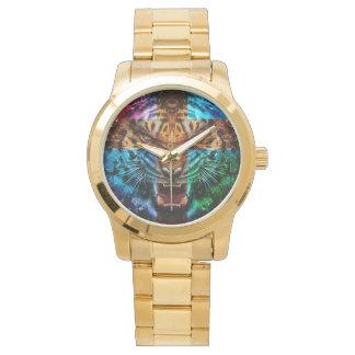 Relógio Tigre transversal - tigre irritado - cara do tigre