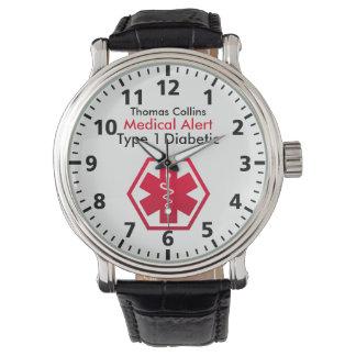 Relógio Tipo alerta médico do diabetes - 1 ou 2