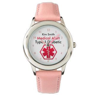 Relógio Tipo alerta médico do diabetes das meninas - 1 ou