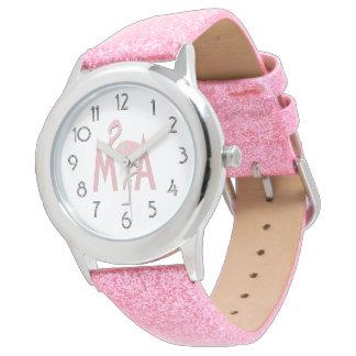 Relógio Todo o flamingo do rosa do brilho adiciona o
