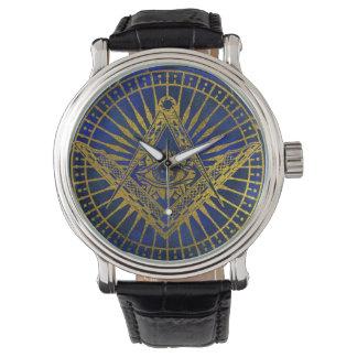 Relógio Todo o olho místico de vista no compasso maçónico
