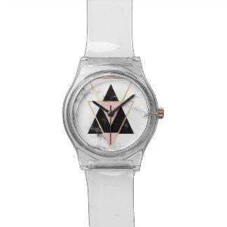 Relógio Triângulos, ouro, preto, rosa, mármores, colagem,