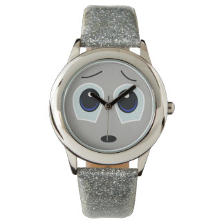 Relógio triste adorável do brilho da cara