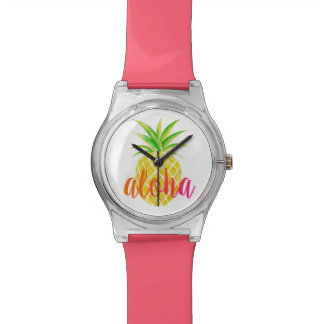 Relógio tropical da aguarela do abacaxi Aloha