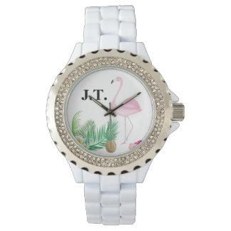 Relógio tropical personalizado do flamingo