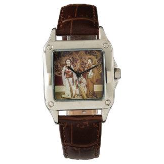 Relógio Um trio da gueixa japonesa no 芸者 velho do vintage