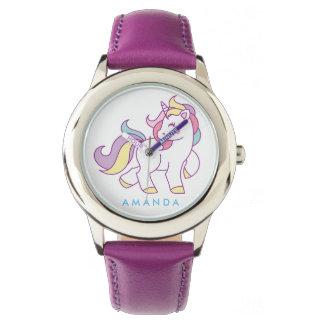 Relógio Unicórnio mágico bonito personalizado